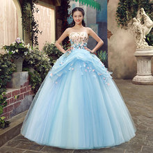 Junoesque Sky Blue Sleeveless Strapless Singer Performance Dresses Appliques Masquerade Dresses