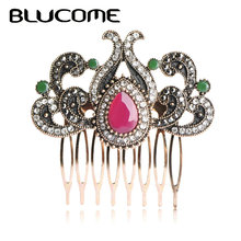 Blucome Vintage Flower Crown Hairwear Jewelry Turkish Antique Gold-color Metal Hair Combs Red Water Drop Resin Crystal Hairpins