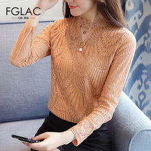 Buy FGLAC women blouse shirt Fashion Casual long sleeved Hollow lace tops Elegant Slim Lace shirt Plus size women clothing for $15.19 in AliExpress store