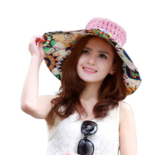 2016 PINK STRAW Summer New Flower Pink Large Wide Sun Beach Hat for Women Hand Woven Straw Sun Hat Caps