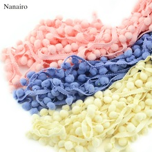 5 meter 1cm Lace Ribbon Fabric Sewing Accessories Pompom Cotton Pom Pom Decoration Tassel Ball Fringe Trim DIY Material Apparel