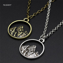 MCSAYS Norse Viking Stainless Steel Jewelry Odin Hill Mountain Pendant Punk Couple Necklace Amulet Mens Music Jewelry Gifts 1SL(China)