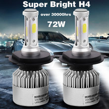 2pcs Car Headlight COB H1 H3 H4 H7 H8 H11 9005 9006 8000LM 72W LED Auto Lamp Bulb Fog Light Replace Parts 6500K Lights For cars(China)