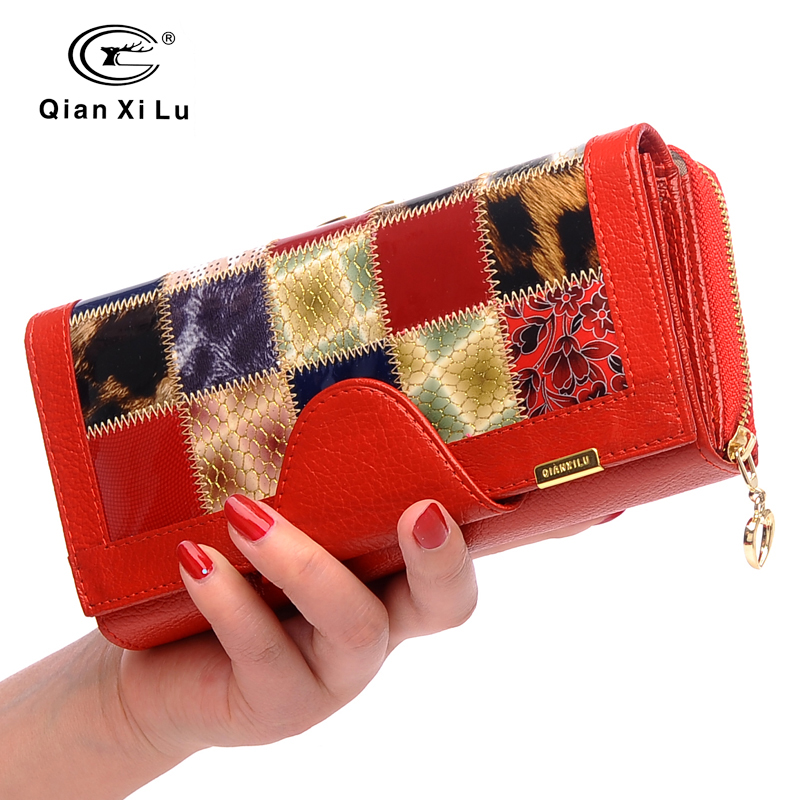 Qianxilu Brand 3 Fold Genuine Leather Women Wallets Coin Pocket Female Clutch Travel Wallet Portefeuille femme cuir<br>