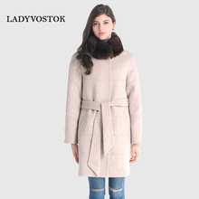 LADYVOSTOK Autumn and Winter Women Coat Long Fox Fur Collar Belt Coat Warm Cashmere Coat Plus Size 18262(China)