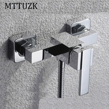 MTTUZK Chrome Brass Shower Set Hot and Cold  Mixer Single Handle Square Faucet Shower Wall Mounted Bathtub Faucet Shower Set