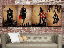 Hand-painted 4 Panel Arts Abstract Marvel Comics Heroes Oil Painting Retro Movie Star Batman, Hulk, Captain America, Thor Poster(China)