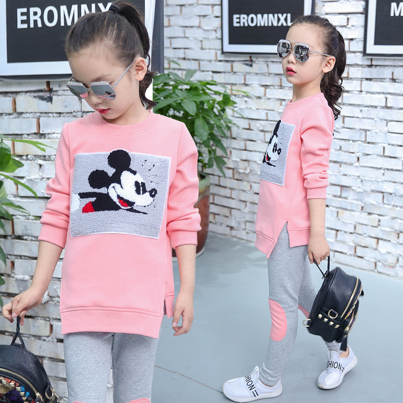 Suit for children new girls autumn and winter sweater pants clothing set  children cartoon fashion plus velvet two piece suit<br><br>Aliexpress