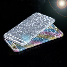 Hot! For iphone 4 4S/5 5S/6 6S Bling 360 Degree Full Body Decal Skin Bling Glitter Phone Protective Sticker Wrap Phone Case C033