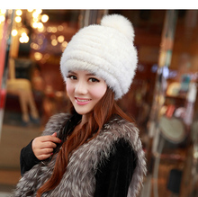 real mink fur hat for women winter knitted mink fur beanies cap fox fur pom poms brand new thick female cap