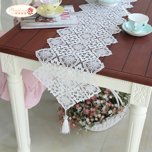 1 Piece Korean Household Hollow Out Table Cloth/ White Embroidered Tea Table Runner/ Bud Silk Embroidered Cloth Free Shipping