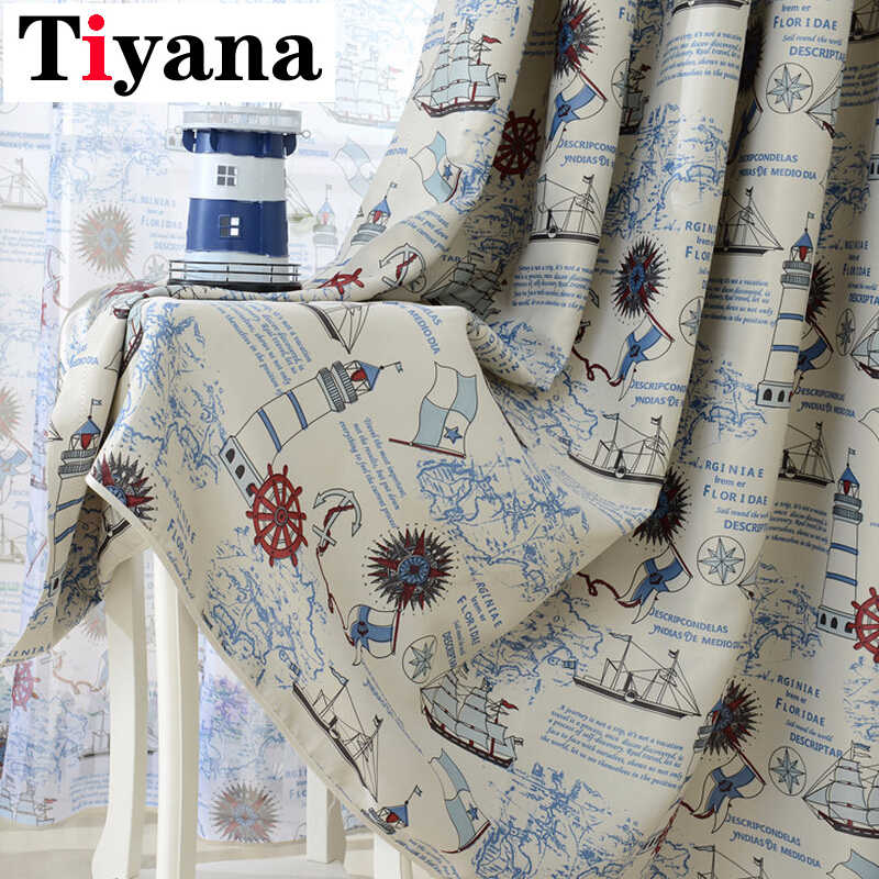 Mediterranean Nautical Design Sheer Window Curtains For Boys Kids Bedroom Living Room Shading Cloth Cortinas P237D4