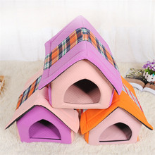NUOYUFAN 40*35*40cm Pet Cat Dog House Kennel Removable Cover Pet Bed Sleeping Mat PP Cotton Breathable Sofa Mats