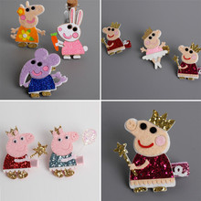 Felt Cartoon Rabbit Hair Clip Cute Elephant Hairpin Glitter Animation Pig with Gold Crown Balloon and Star Wand Sweet Party Gift