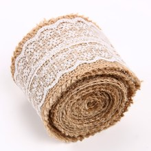 5M Natural Burlap Hessian Ribbon Roll With Lace Trim Tape Rustic Wedding Decoration Wedding Party Cake Topper Decor