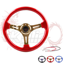 universal 330mm black/blue/red classic ABS car sport steering wheel with neo chrome/silver/gold spokes