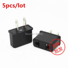 5pcs Universal EU To US Plug 2 Pin USA To Euro Europe Travel Wall AC Power Charger Adapter Converter 125V~250V 6A Black HY267*5
