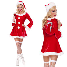 Adult Red Cute Christmas Dress Costumes Miss Santa Claus Costume For Christmas Party Dance Party Fancy Costumes(China)