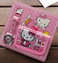 New 24pcs  Cartoon Popular Hello Kitty  Faux Leather Quartz Watches and Wallet Sets Children Toy Gift  A-Y11