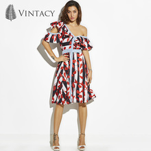 Vintacy New Dress Party Red Print Striped Ruffles A Line Midi Dress Summer Style Fashion Women Sexy Beach Holiday Dress Party(China)