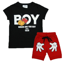 Summer Boys set Lovely Baby Kids Boys Girls Minnie Mouse clothes 2pcs T-Shirt + Shorts suits cartoon children's clothing sets