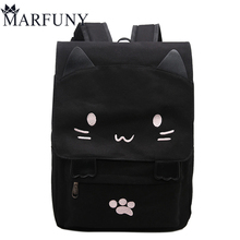 Fashion Canvas Backpacks For Teenage Girls School Bags Cute Cat Women Backpack Preppy Style Cartoon Bag Large Capacity Mochila(China)