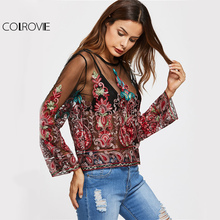 COLROVIE Embroidery Mesh Blouse Vintage Sexy Sheer Tops 2017 Women Keyhole Back Thin Summer Tops Floral Long Sleeve Tunic Blouse(China)