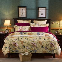 polyester flower american style blue purple queen twin full bedding bed sheet set bedclothes duvet cover set bedding set