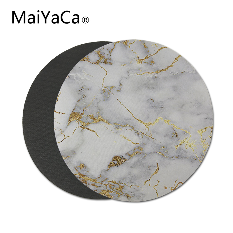 Gold marble Round Mouse Pads Non-Skid Desk Rubber Mouse Pad Game Mouse Pad office MousePad 22X22 CM (1)