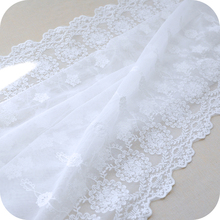 50cm x130cm Creamy White Net Bouble Size Symmetrical Positioning Embroidery Lace Fabric Fabrics of DIY webbing Cloth Materials