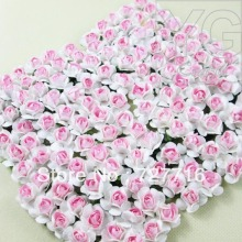 432PCS/LOT  Two-tone pink Mulberry Paper Flower Bouquet / Scrapbooking artificial rose flowers  Free shipping