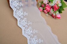 Novelty DIY lace fabrics 14 yards/lot width10cm High-quality white,black mesh embroidery lace fabrics/wedding Accessories16592