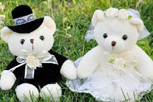 Kawaii 1Pair Wedding Bear Plush TOY; Gift Bride & Groom Bear Bouquet DOLL TOY ; Plush Stuffed TOY 10CM Soft Figure DOLL TOY(China)