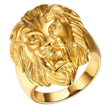 Tuker Men Jewelry Big Size Gold Color Lion Ring with Micro Paved  High Polished Lead & Nickel Free Rings for Women Party