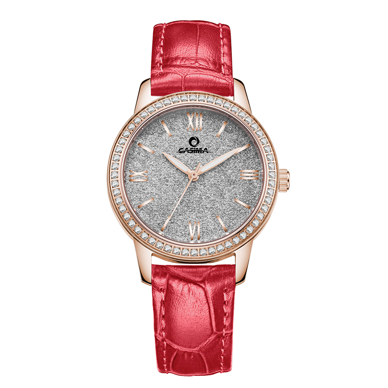 2018 new arrival womens watch rose gold stainless steel lady watches with rhinestone red &amp;purpleleather waterproof 6602<br>