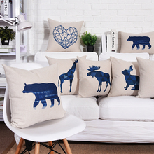 Wholesales Cushion Cover Deer Bear Bunny Giraffe  Blue  Pillow case Throw decorative cushion covers 45cm*45cm/60*60cm