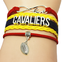 Infinity Love Cavaliers Baseball Team Bracelets Leather Suede Rope Charm Customize Friendship Wristband Women Bangle