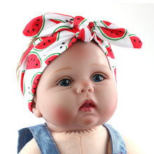 DIY Summer Fruit Print Headband Lovely Girl Hairband Soft Headwrap Hair Bow Tiara Hair Band Accessories