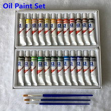 Professional Oil Paint Canvas Pigment Art Supplies Paints Each Tube Drawing 12 ML 24 Colors Set Free For Brush(China)