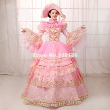 Hot Sale Pink Lace Rococo Marie Antoinette Dress Gowns Photography Studio Stage Outfit Pictorial Art Photo Clothing Vestidos(China)