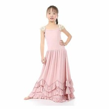 New Baby Girls Maxi Ruffles Pink Dress Lace Sleeve Candy Fashion Princess Party Dress Retail By Everweekend(China)