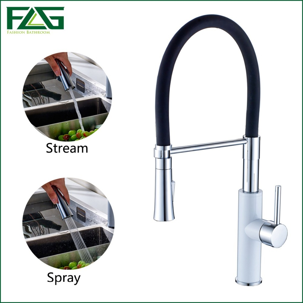 FLG English Style Kitchen Faucet White &amp; Chrome All Around Rotate Swivel 2-Function Water Outlet Pull Out Sink Mixer Tap C043<br><br>Aliexpress