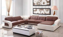 Modern corner Genuine leather sofa set for living room sofa set design U shape