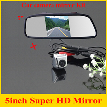"2 in 1 HD CCD rear view Camera + 5"" HD Car Mirror Monitor rear view mirror monitor CCD car parking camera back up camera(China)"