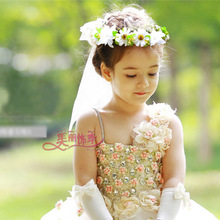 2017 Newest  Flower Girl's Bridal Veil With Wreath Wedding Veil For Girls