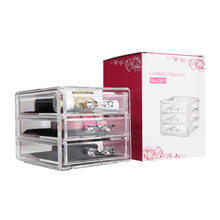 New Clear Acrylic Desktop Cosmetic Storage Organizer Box 3 Drawers Makeup Cases Easy to clean clear Storage drawer(China)