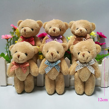 24pcs/lot Promotion gifts 12CM bow tie brown teddy bear mini joint plush keychain bear bouquet phone pendant