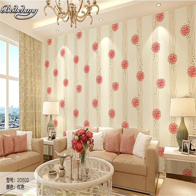beibehang Pink Wallpaper Bedroom Princess pink fresh creative floral background wallpaper warm romantic room<br>