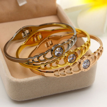 Hot Selling Women big crystal stainless steel Bracelet Luxury Round Clear CZ Bracelets & Bangles for Elegant Party Jewelry