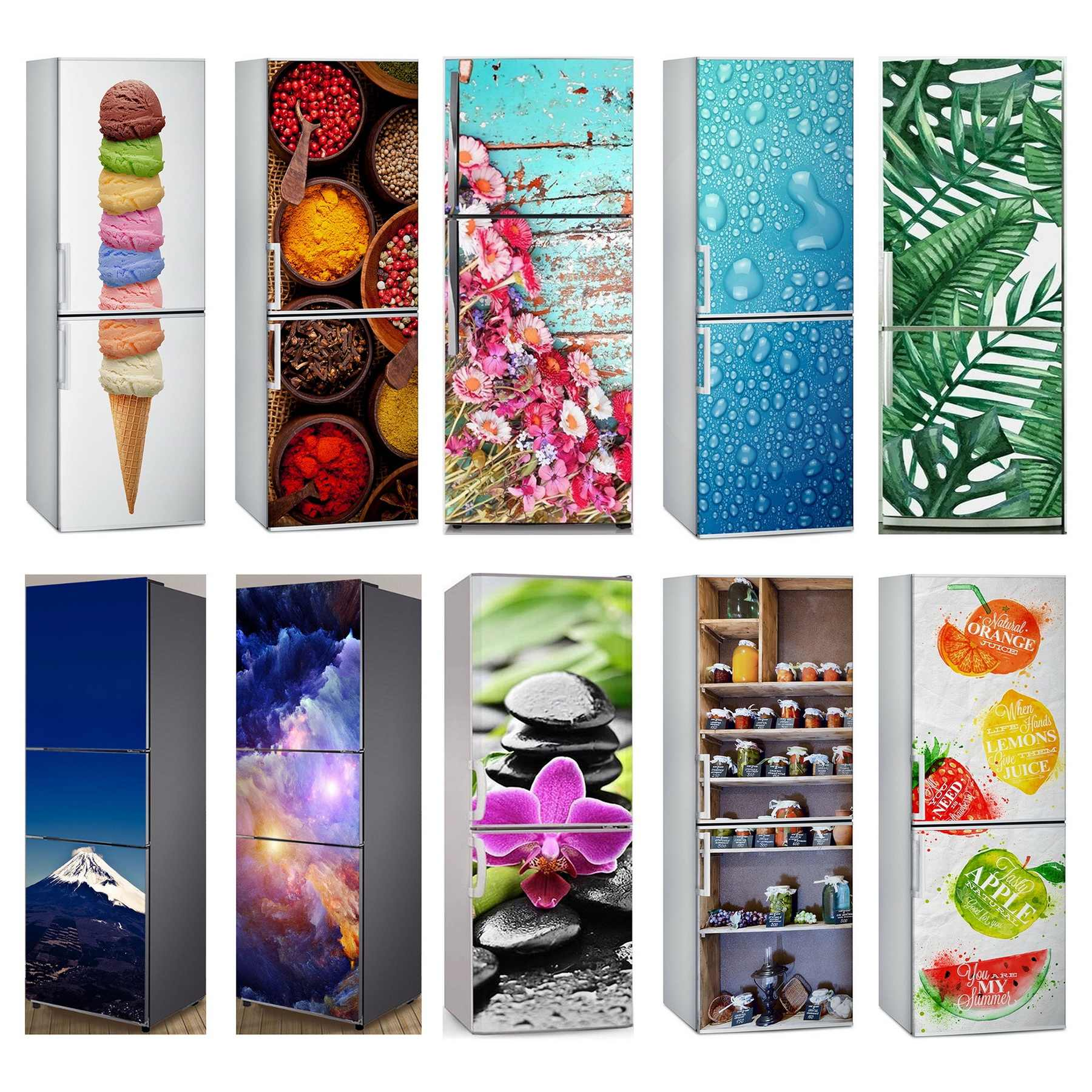 Wholesale 3D Fruit Vegetables Self Adhesive Dishwasher Refrigerator Freeze Sticker Kid's Art Fridge Door Cover Wallpaper